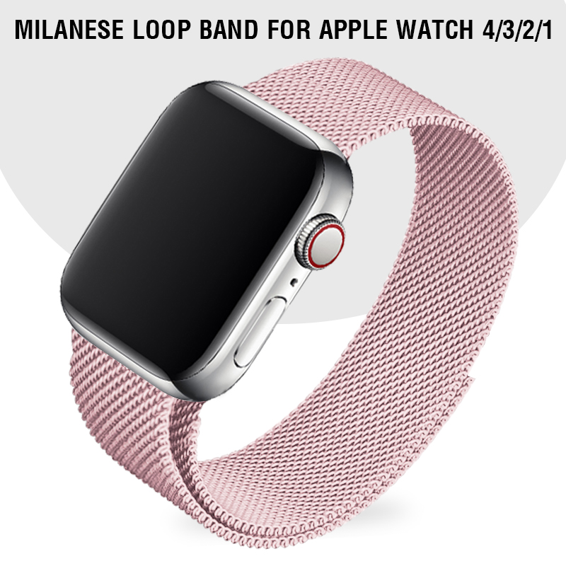 Light Pink Strap Milanese Loop Band 40 44 For Apple Watch Series 5 Series 4 i Watch Series 3 Band 42mm 38mm Girl Women Bracelet image