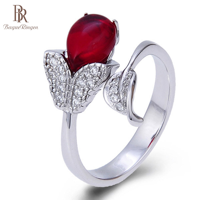 Bague Ringen  925 Sterling Silver Ring Luxury Designer For Women With 8.5*5.8mm Created Ruby Gemstone Lady Party Gift