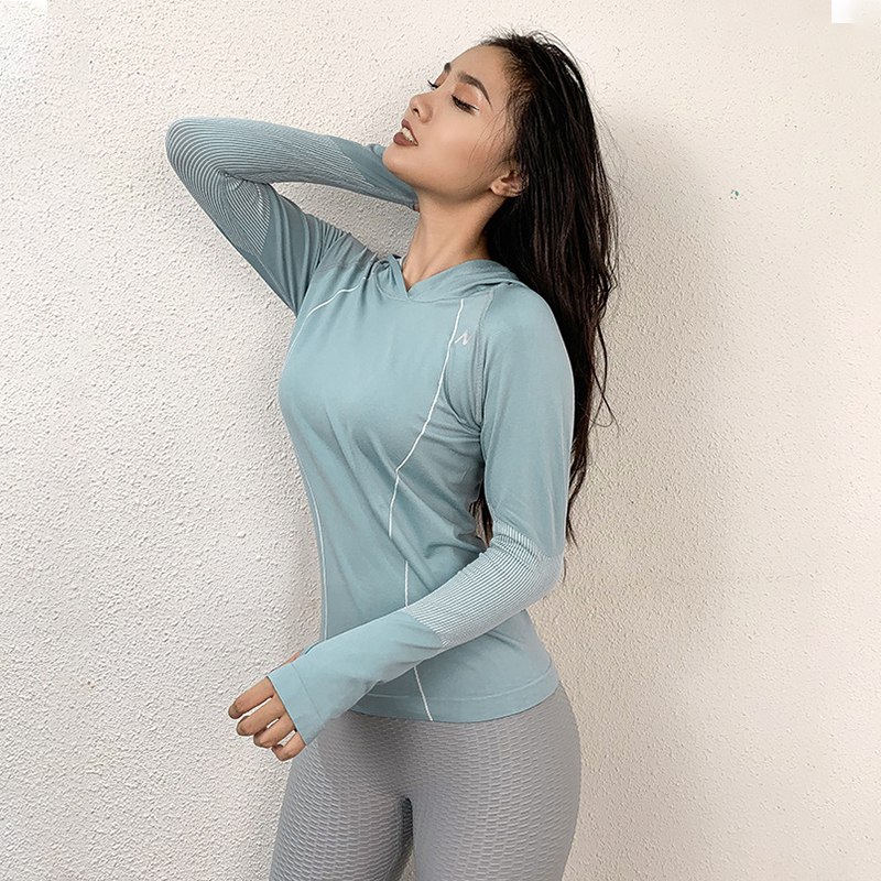 Wmuncc Hooded Running Shirts Seamless Gym Top Fitness Long Sleeves Sweatshirts Quick Dry Training Breathable Sports Wear