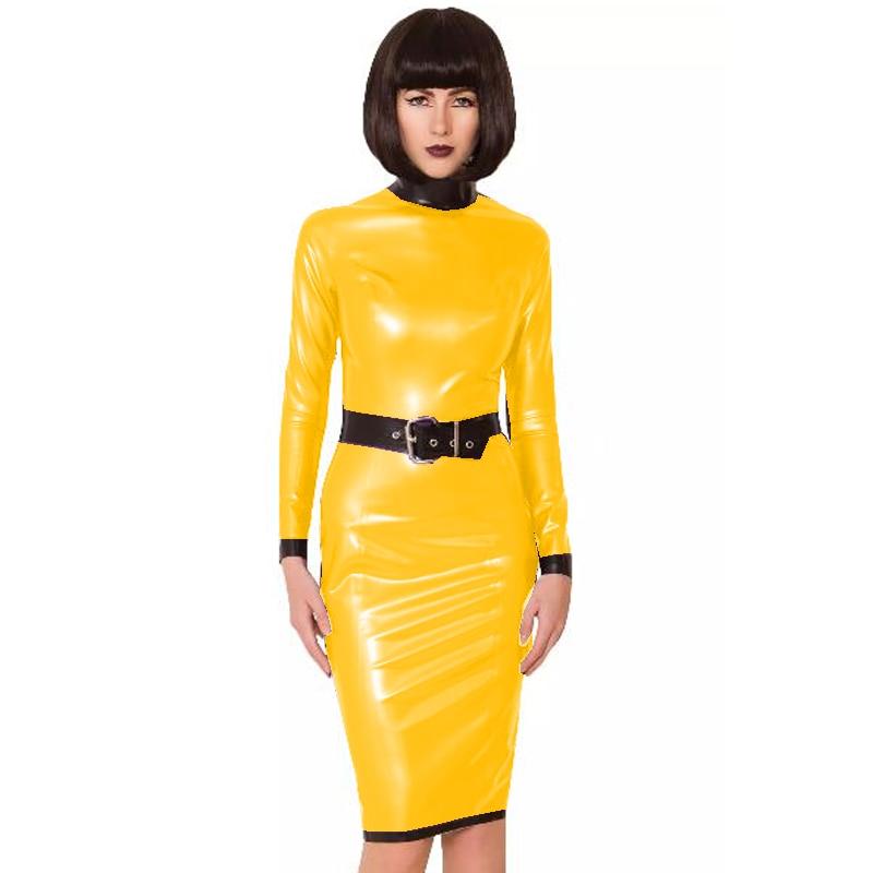 24 Colors Back Zipper Long Sleeve Knee Length Dress Lady Slim Vestido Fashion Patchwork Color Midi Dress Sexy Stage PVC Clubwear 19