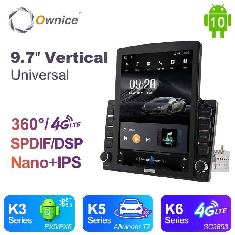 Ownice 2 Din Android 10.0 Car Radio GPS Multimedia Video Player Universal Autoradio 9.7 Tesla Vertical Screen Android Radio DSP image