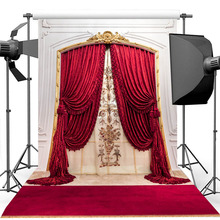 Red Carpet Bridal Shower Background for Photography Vintage Red Curtain Birthday Photography Backdrop For Photo Studio