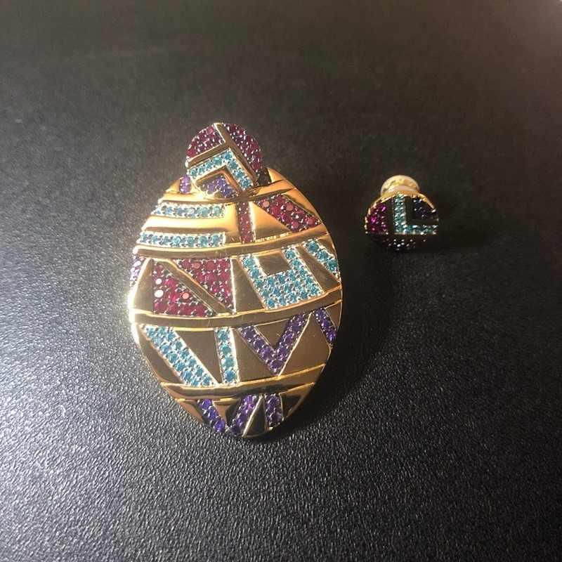 2020 Новый s925 Стерлинговое Серебро цветной этнический геометрический браслет в форме полумесяца серьги женские брендовые ювелирные изделия