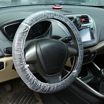 50/100/500pcs Universally Car Disposable Plastic Steering Wheel Cover Waterproof Clear Transparent Plastic Cover Waterproof image