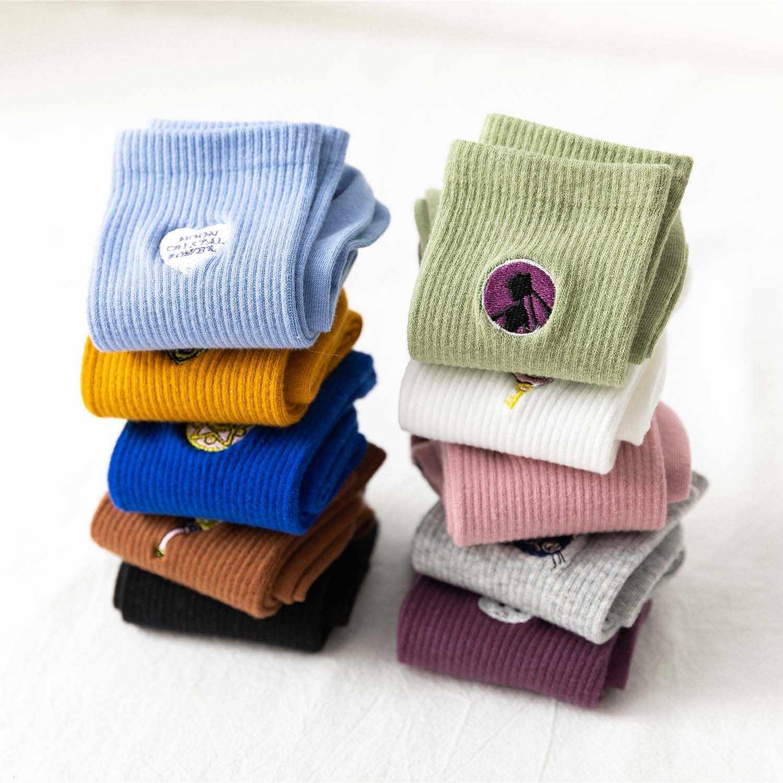 Kawaii ירח ילדה מצחיק גרבי נשים קוריאני נשים גרבי טהור כותנה יפה רקמת 1 זוג Streetwear סיילור מון