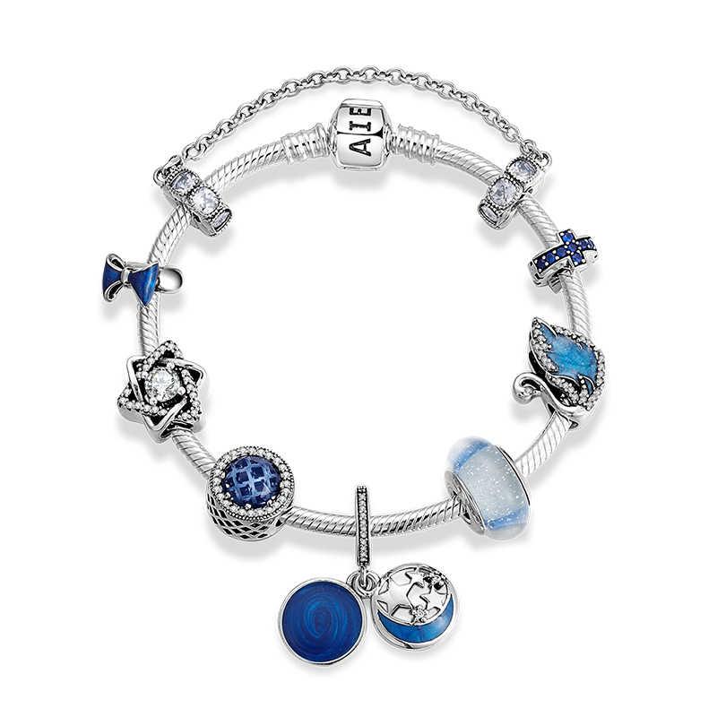 新 925 スターリングシルバーチャーミングムラーノガラスブルーエナメル秘密の星ペンダントブレスレットチャーム女性のブレスレットの宝石