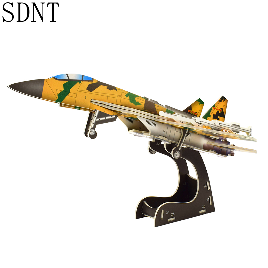 3D Aircraft Puzzles Model Toys For Boy DIY Fighter Handmade Assembly Model Building Kits Toy Gifts Games Hobbies Home Decoration