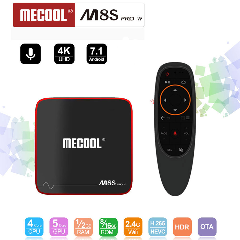 Mecool m8s pro w 2G 16G Smart tvbox android 7.1 S905W CPU 2.4GHz WiFi 4K H.265 décodeur tv support 2500 + espagne/Europe IPTV pk KM9-in Décodeurs TV from Electronique    1