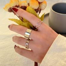 EN 2021 diseño Simple de la manera, Anillos de plata Vintage junta de Color Anillos establece para las mujeres joyas conjunto de Anillos