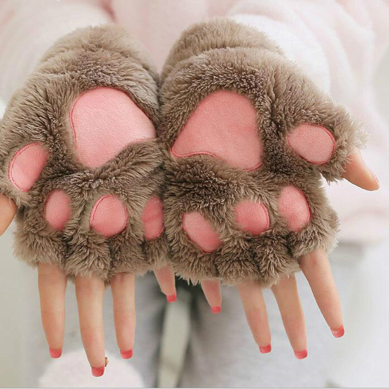 Coslony Women Lovely Cartoon Fluffy Bear Cat Claw Paw Mittens Winter Half Finger Plush Gloves Ladies Fingerless Warm Gloves