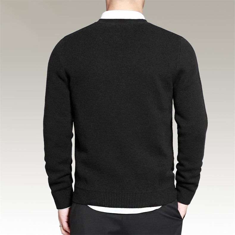 Slim Sweater Pollovers Men Casual Cotton Sweater Jumper Pullover Male Business V-Neck Knitwear Jersey Man Plus Size 4XL Black 07