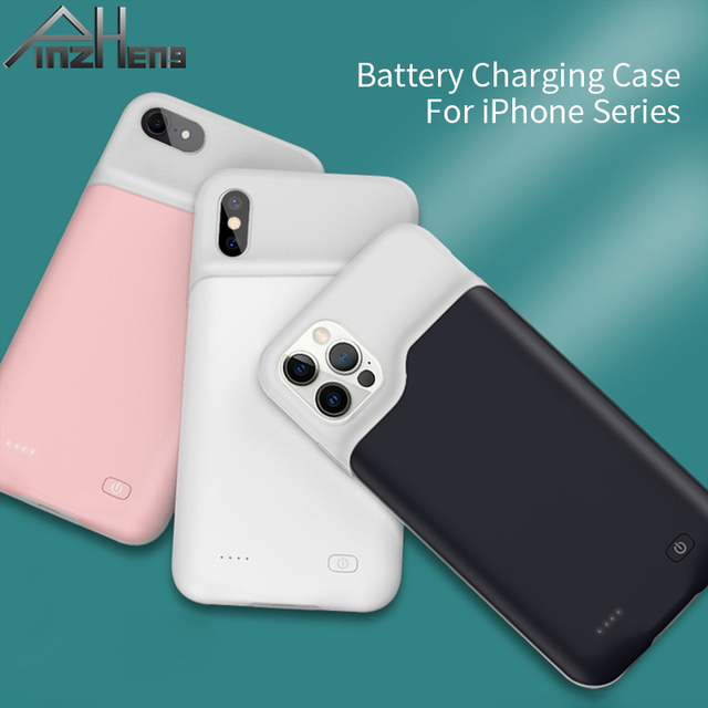 PINZHENG Battery Charger Case For iPhone 7 8 6 6S Plus Charging Case For iPhone X XS 12 11 Pro Max Portable Power Bank Charger 2