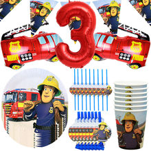 Fireman Sam Birthday Party Decor Disposable Tableware Paper Cup Plate Straw Happy Birthday Banner Fire Engine Truck Ballon Globo
