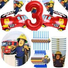 Pompier Sam anniversaire fête décor vaisselle jetable papier tasse assiette paille joyeux anniversaire bannière pompier camion Ballon Globo