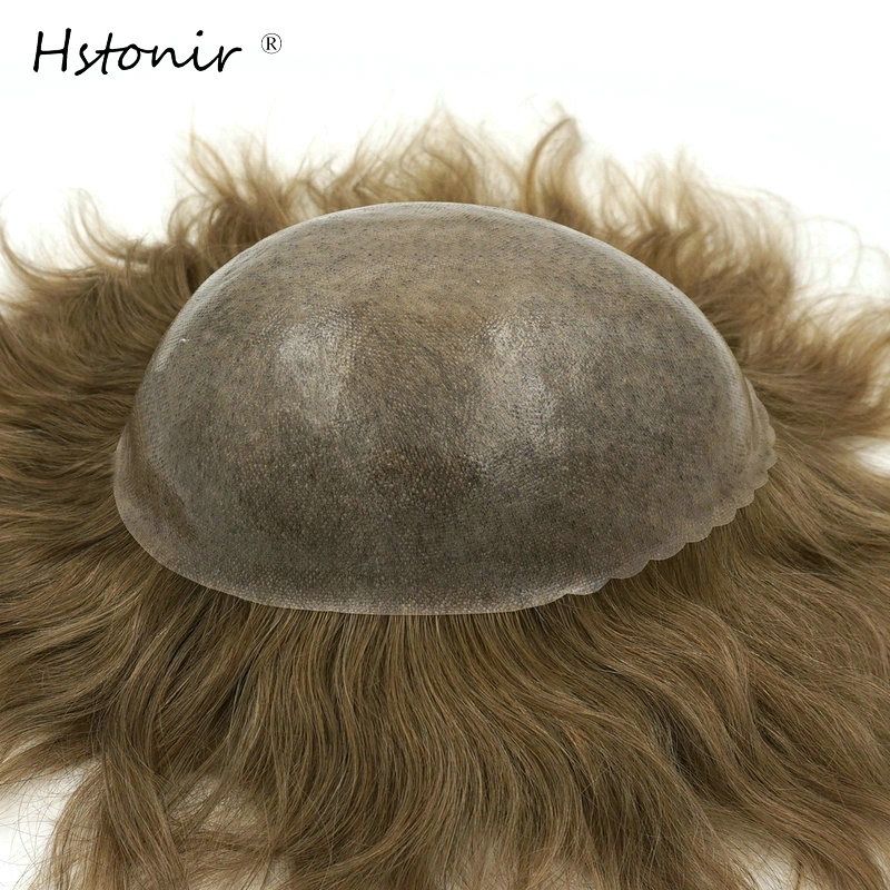 Hstonir Remy Hair Men's Wig Toupee For Men Full PU Base Mens Toupee Hair Replacement System H082