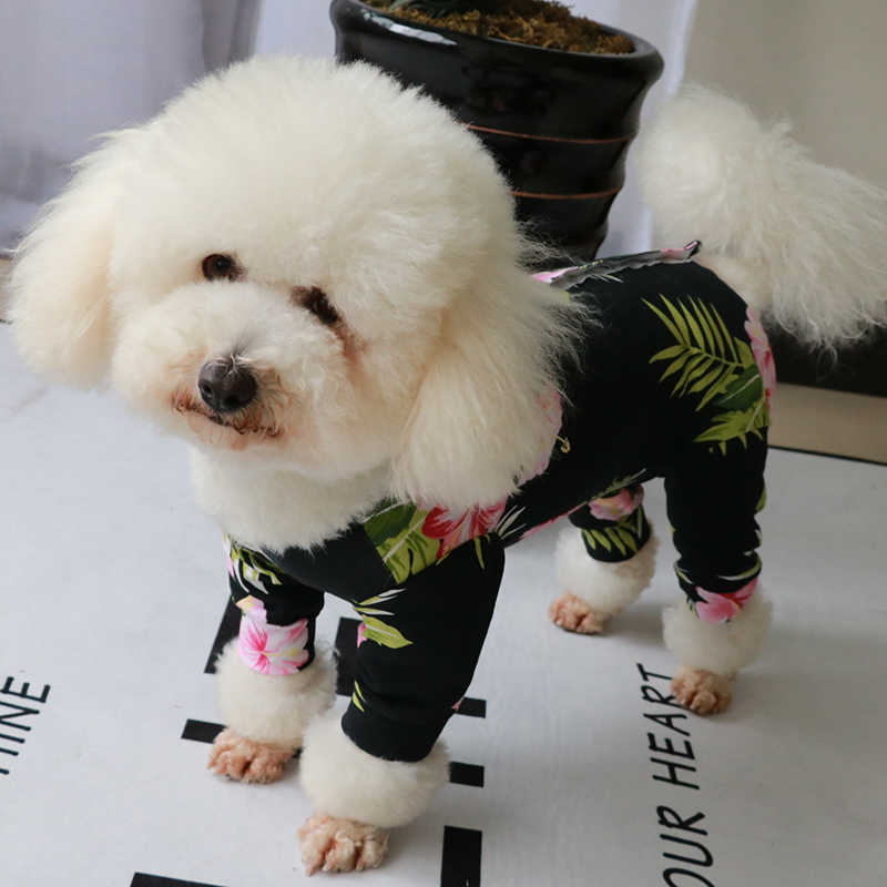 Pet Dog Jumpsuit Stretch Cotton Four Feet Overalls Puppy Clothes Protect Belly For Small Dogs Pajamas Elastic Sweatshirt Poodle