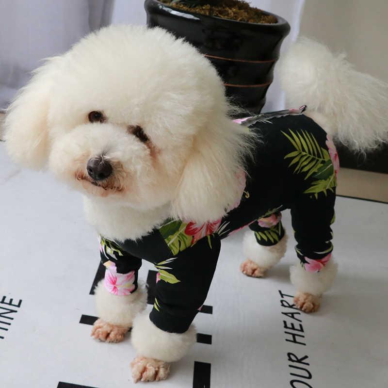 Kombinezon dla psa elastyczny bawełniany kombinezon z czterema stopami strój dla szczeniaczka chroń brzuch dla małych psów piżama elastyczna bluza pudel