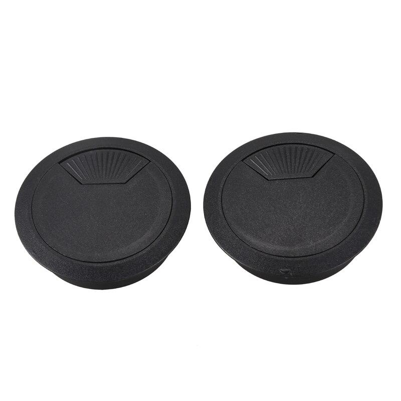2 Pcs 53mm Diameter Desk Wire Cord Cable Grommets Hole Cover Black