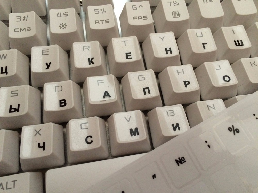 1PCs Russian Transparent Keyboard Stickers Russia Layout Alphabet Black White Label Letters for Notebook Computer PC Laptop-1