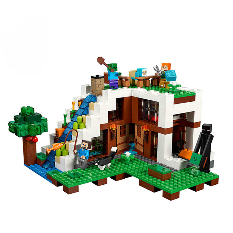 The Waterfall Base Building Blocks With Steve Action Figures Compatible LegoINGlys MinecraftINGlys Sets Toys 21134 10