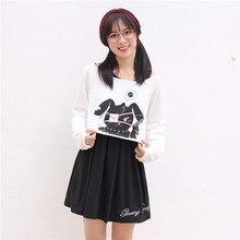 Vestido corto Kawaii de manga larga para chicas, traje de 2 uds. De conejo negro de cómic, estilo Kawaii, Conejito de impresión, manga larga, 2020