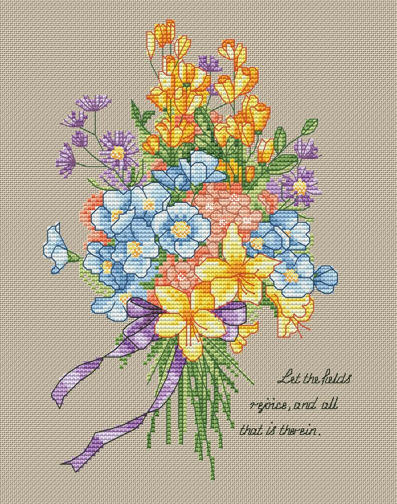 GG Gold Collection Counted Cross Stitch Kit Cross stitch RS cotton with cross stitch <font><b>Merejka</b></font> Bunch of wild flowers image