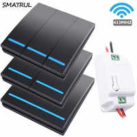 SMATRUL 1/2/3 gang 433Mhz smart push Wireless Switch Light RF Remote Control 110V 220V Receiver Wall Panel button Ceiling Lamp