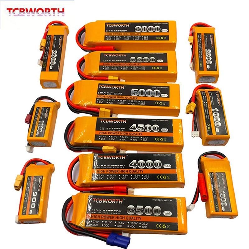 TCBWORTH 7.4V 11.1V 14.8V 22.2V RC LiPo Battery 1300 2200 3300 4200 5200 6000mAh 25C 35C 60C For RC Airplane Drone Quadrotor