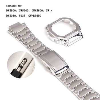 OOTDTY Stainless Steel Watchband Wrist Strap Metal Protective Case Cover for DW5600 GW5600 GWX5600 GW/DW5030 GW