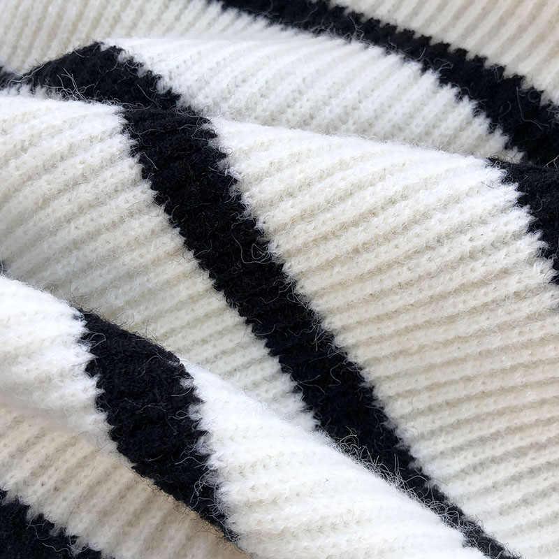 Dolcevita a Righe Maglione Delle Donne con Il Cattivo Flare Maniche Lunghe Stile di Modo di Inverno Addensare Caldo Tira Outwear Coat Tops
