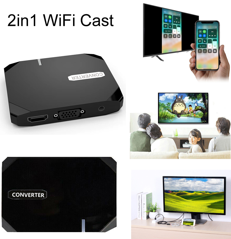 Wireless WiFi +USB Data 2in1 Screen Mirroring Phone Connect To TV HDTV HDMI Adapter For IPhone XS MAX XR 6 7 8 Samsung Android