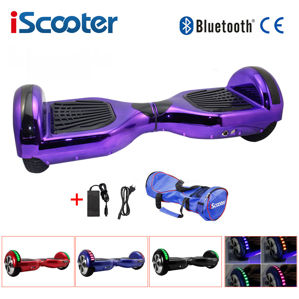 IScooter UL2722 Hoverboard 6.5 Inch Bluetooth Chrome Color Electric Skateboard Smart 2 Wheel Self Balance Standing Scooter