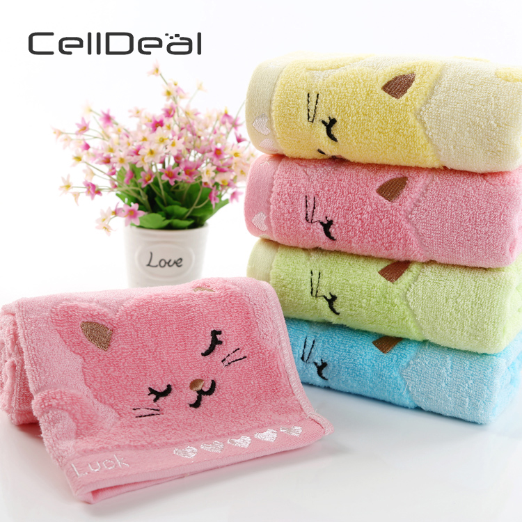 Cute Cat Child Towel Bamboo Fiber Towel Cotton Towel Strong Water Absorbing Microfiber 25*50 Cm For Home Bathing Shower Towel