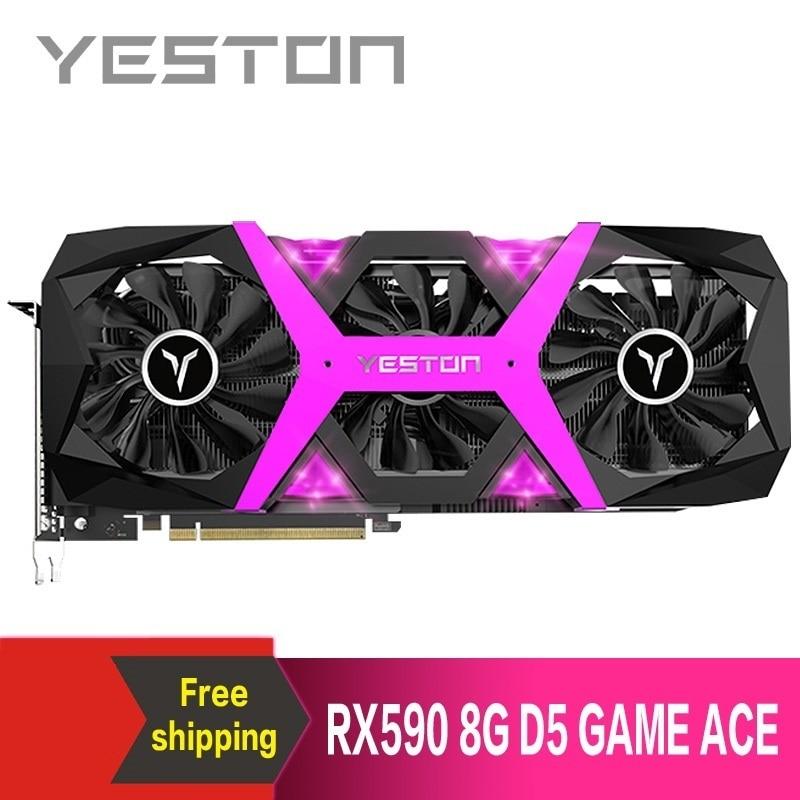 Yeston Radeon RX590 8G GDDR5 256bit PCI Express x16 3.0 video gaming graphics card DVI+HDMI+3*DP for desktop 1