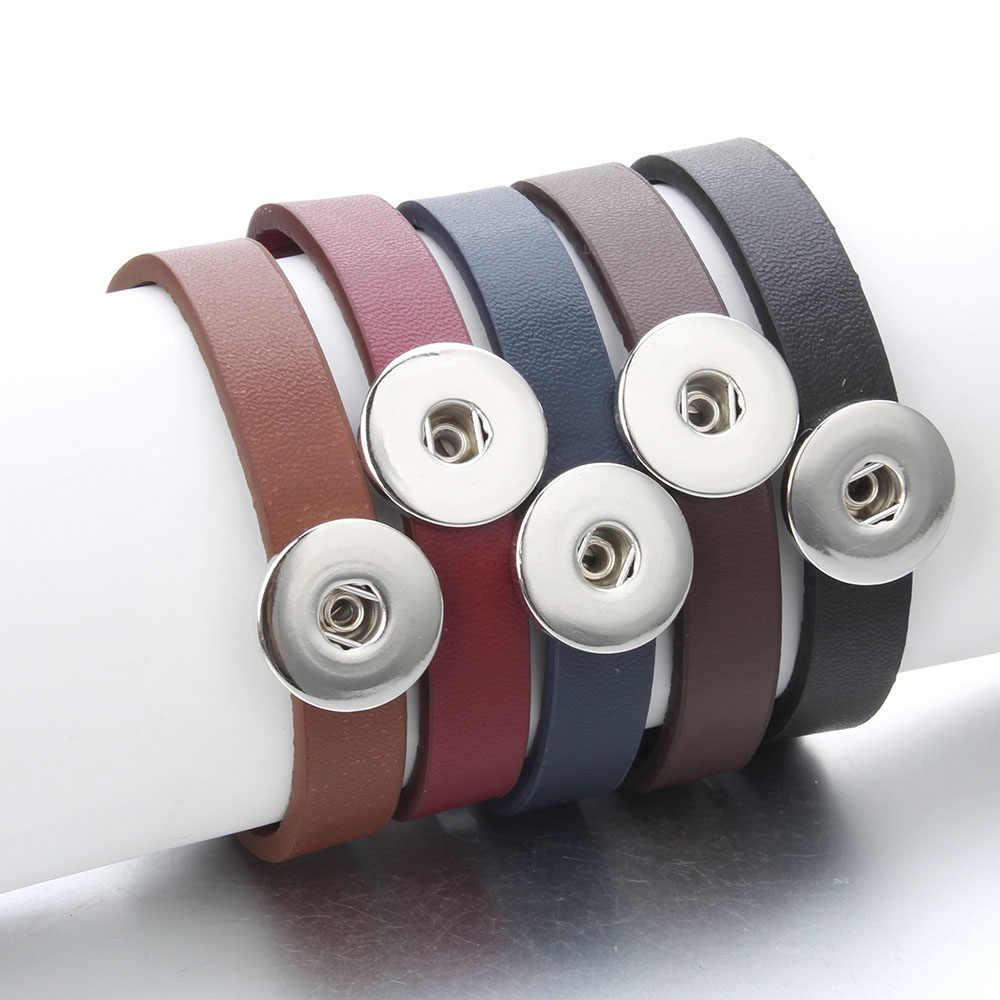 הצמד תכשיטי עור הצמד כפתור שעונים Braeclet Fit 18mm DIY מצליפה כפתור צמיד לנשים גברים