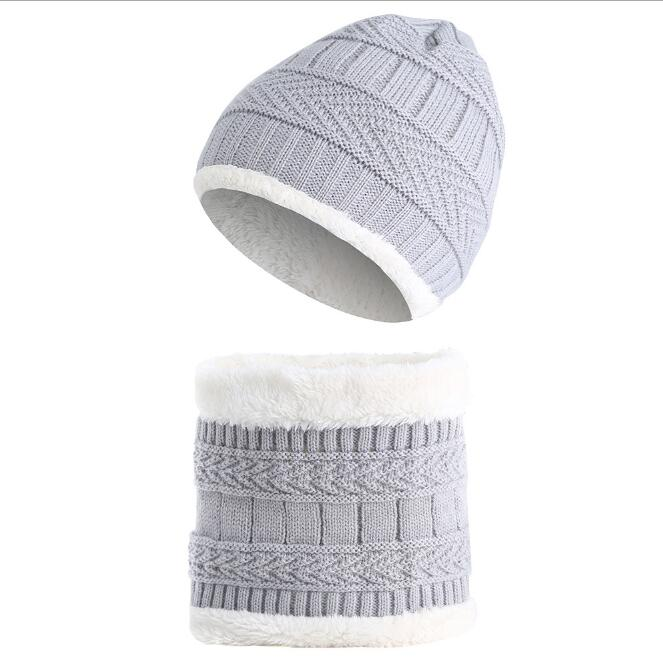 Autumn Winter Child Hat Caps Knitted Wool Warm Scarf Thick Windproof Balaclava Multi Functional Hat Collar Set For Toddler Kids