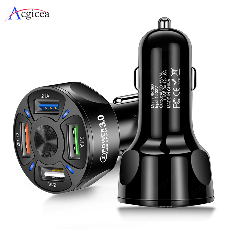Quick Charge 3.0 Fast Charging 4 USB Car Charger For Samsung Xiaomi Car-Charger For iPhone 11 XR 8 QC 3.0 Mobile Phone Chargers(China)