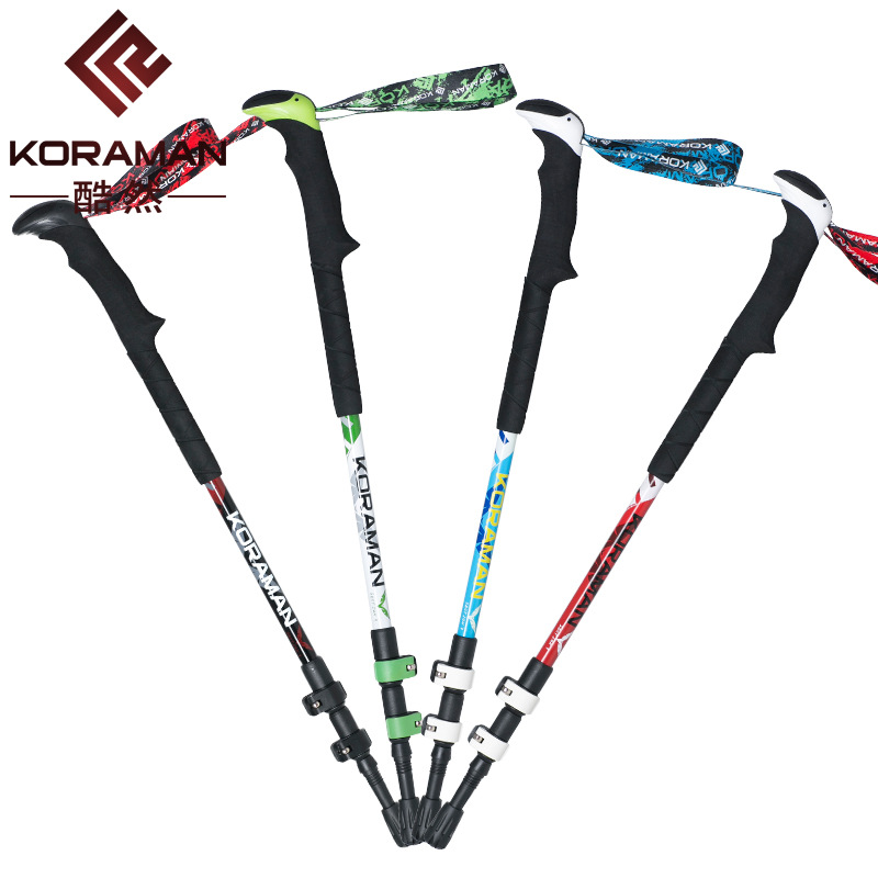 Carbon Fiber Alpenstock New Products Extendable Three-section Rod Carbon Ultra-Light Rugged Mountain Climbing Equipment Ski Pole
