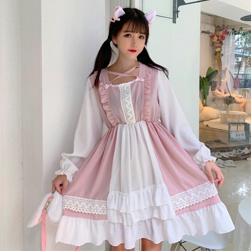 Pink Lolita Dress Vintage Sweet Retro Lacet Victorian Dress Kawaii Girl Gothic Lolita Op Palace Sweet Princess Dress Loli Cos