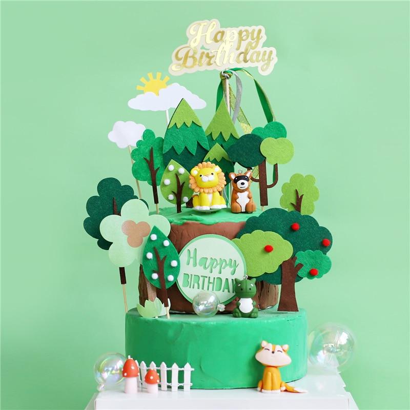 Cool Cartoon Giraffe Lion Elephant Fox Owl Cake Toppers Birthday Cake Personalised Birthday Cards Akebfashionlily Jamesorg