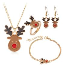 Cartoon Fashion Christmas Mascot Exquisite Elk Pendant Earrings Ring Necklace Bracelet Set Combination Jewelry Holiday Gift circle moon necklace bracelet earrings with ring set