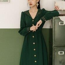 Винтажное зеленое платье с матросским воротником для тонких женщин в стиле ретро элегантное женское платье с длинными рукавами в стиле ампир повседневные официальные платья Vestidos Faldas