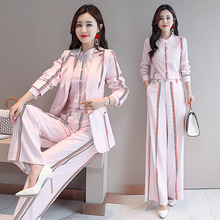 2020 Woman Elegant Striped Business Suit Ladies Office Wear Pant Suits for Women Blazer Shirt Pant Set Three Piece Trouser Suite