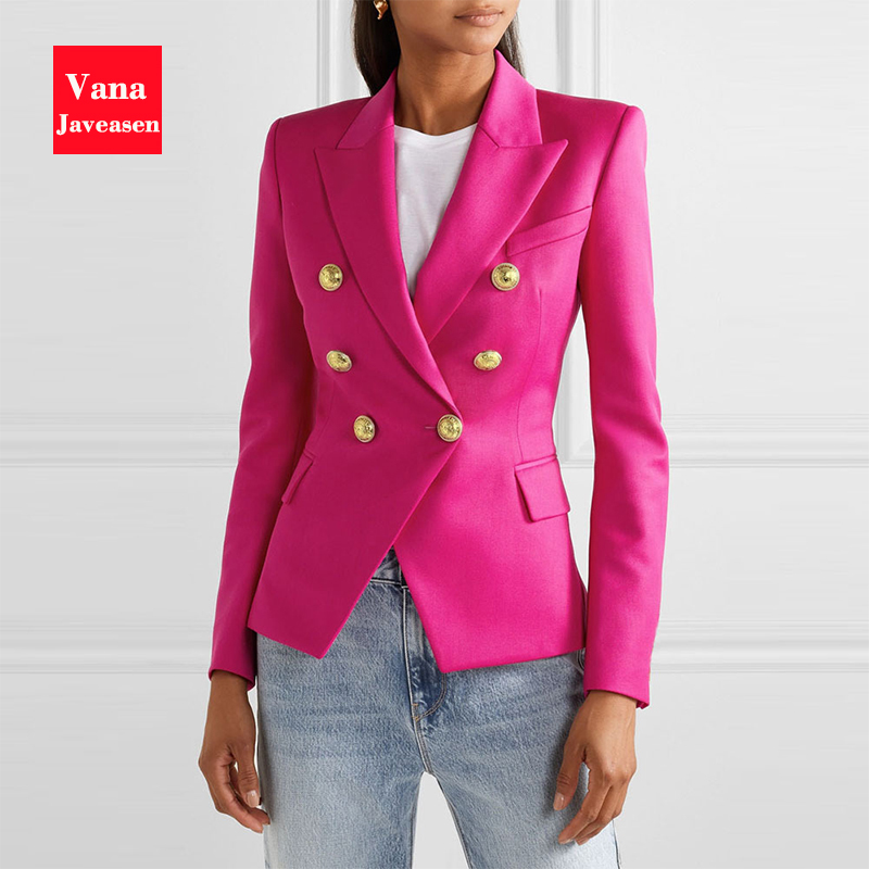Fashion Double Breasted Office Ladies Blazer Long Sleeve Slim Houndstooth Suit Coat Jacket Women Blazers Female 2020