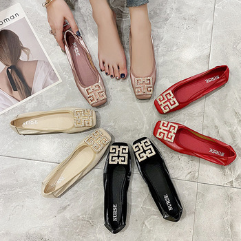 2021 Spring New Thick Heel Low Heel Red Wedding womens Shoes British Leather Shoes Square Toe Shallow Mouth Plus Size 42 43 carpaton autumn and winter new ladies rose red shallow buckle round toe super high heel shoes wedding shoes rose bridal shoes