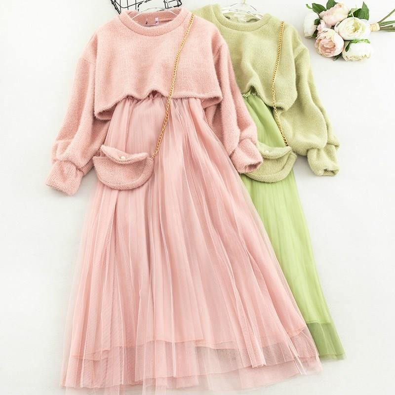 Autumn Mohair Sweater Sling Gauze Dress Chain Bag Women 3Pcs Sweet Suit Gentle Fur Girls  Solid Cute Clothes Set