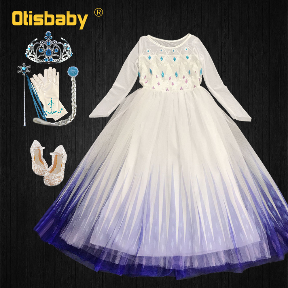 Snow Queen Elsa Dress For Girls Shiny Princess Costume With Cape Summer White Fancy Girl Cosplay Birthday Party Sequins Dress