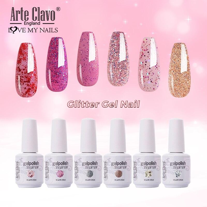 Arte Clavo Glitter Color Gel Nail Polish Manicure Shiny Nail Art Soak Off UV LED Nail Art Gel Girl Friend Gift Hybrid Varnish