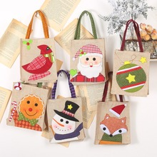 Cartoon Embroidered Christmas Tote Bag Linen Gift Bag Christ
