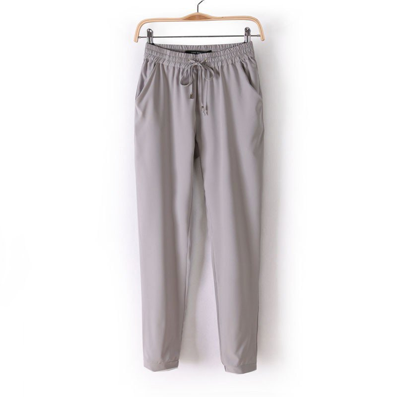 Trousers For Women Solid Candy Color Long Loose Harem Pants Women Slim Elastic Chiffon Trousers NV1